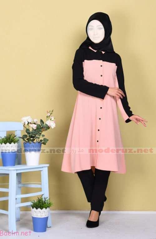 مدل مانتو ساده و نازگ رنگ گلبهی روشن با شال و کفش و شلوار سیاه