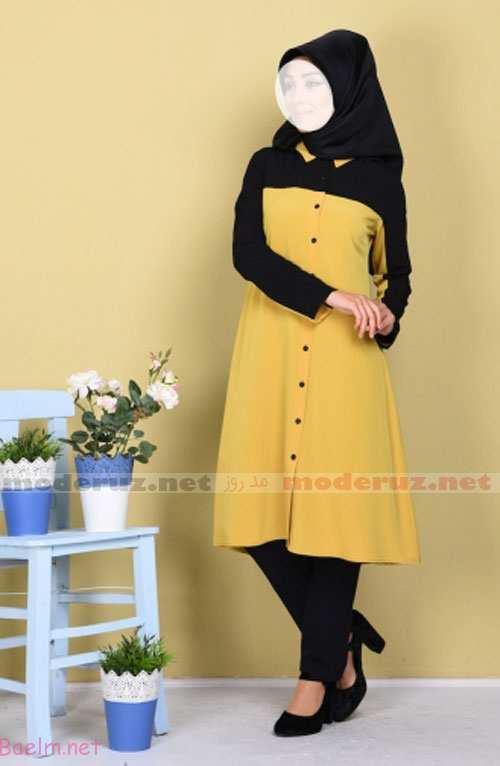 عکس مانتو زرد لیمویی با شلوار ، روسری و کفش پاشنه دار مشکی