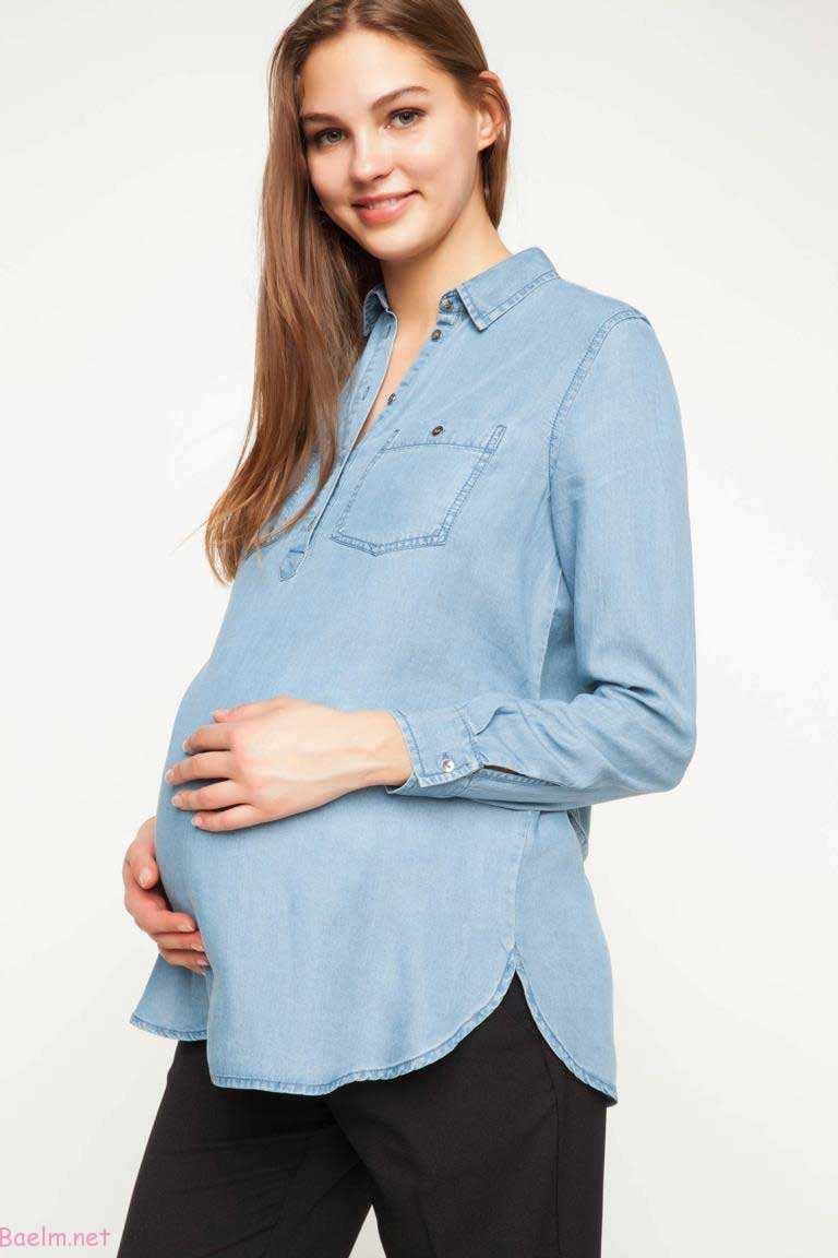 مدل لباس بارداری جین با شلوار پارچه ای