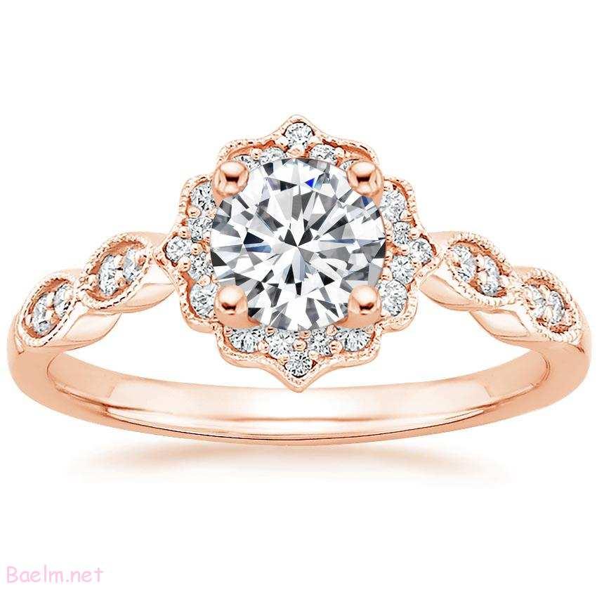 مدل حلقه نامزدی طلایی با نگین الماس