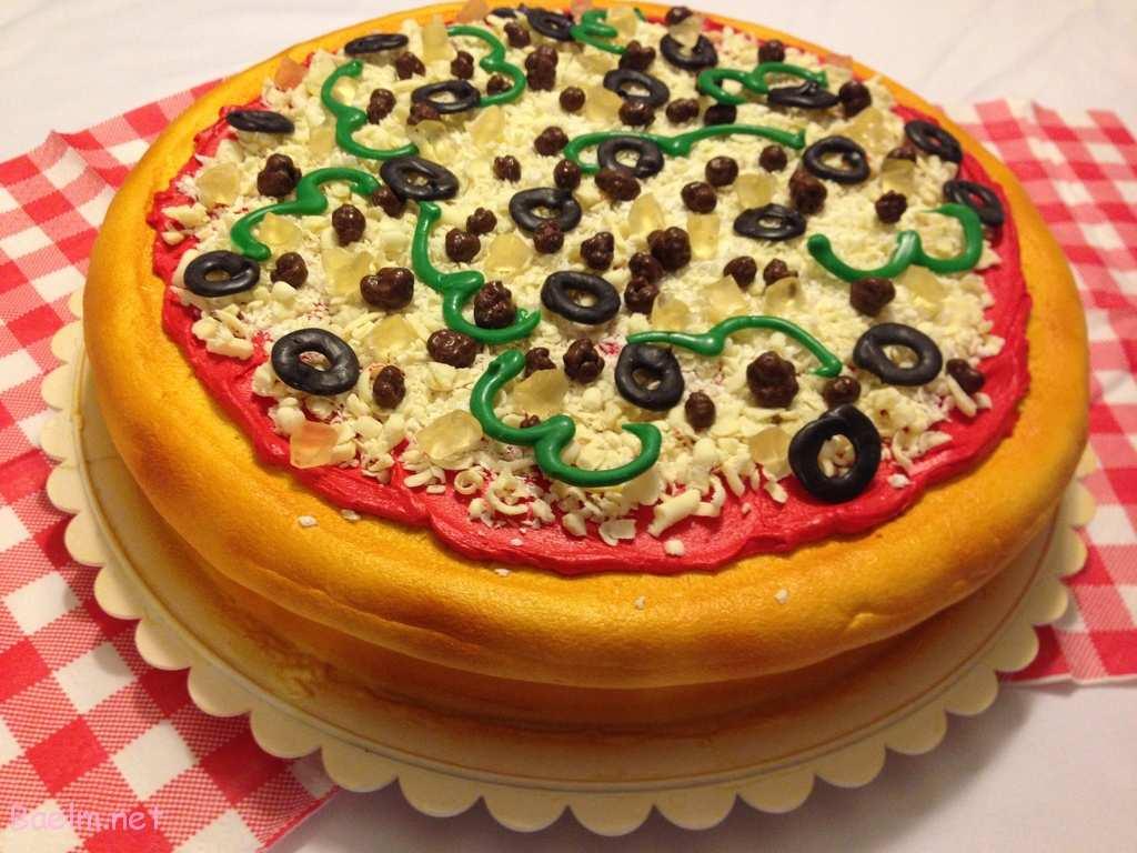 طرز پخت کیک پیتزا,نحوه درست کردن کیک پیتزا