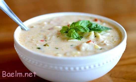 دستور سوپ خامه ای با نودل