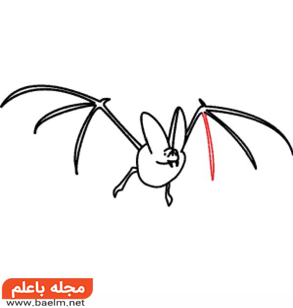 نقاشی کودکانه,آموزش نقاشی خفاش برای کودکان,نقاشی خفاش3