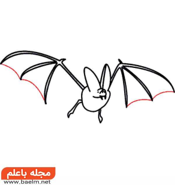 نقاشی کودکانه,آموزش نقاشی خفاش برای کودکان,نقاشی خفاش4