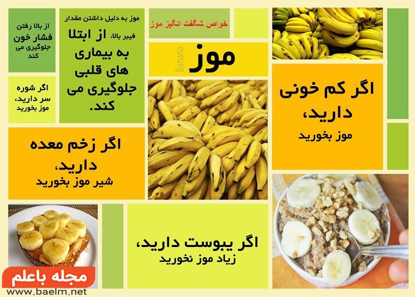 فواید موز,خواص و مضرات میوه موز,پوست موز,موز برای لاغری