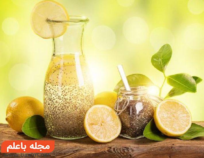 خاصیت دانه چیا,تفاوت دانه چیا با تخم شربتی,نوشیدنی لیمو و نارگیل با دانه چیا