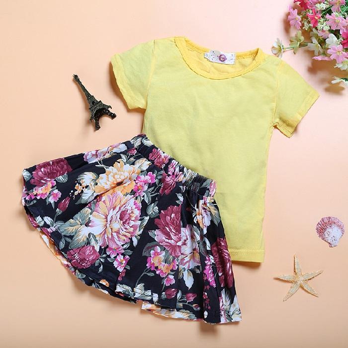 ست بلوز نخی با دامن کوتاه گلدار,مدل لباس مجلسی جدید بچگانه دخترانه,لباس تابستانی و مجلسی دخترانه