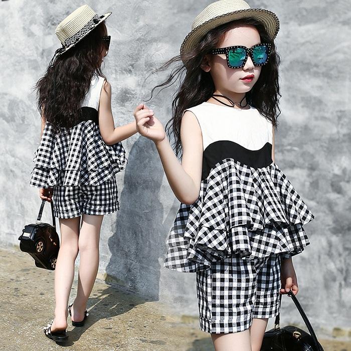 مدل لباس شطرنجی بچگانه دخترانه,مدل تاپ دامن سر هم دخترانه بچگانه,تاپ دامن سرهمی مجلسی