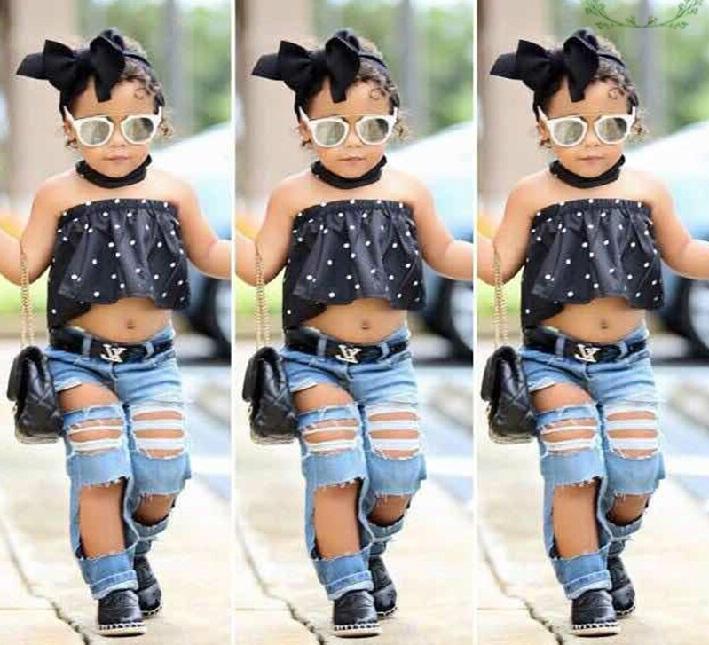 ست بلوز و شلوار بچه گانه دخترانه,ست تاپ خال خالی مشکی و شلوار جین بچه گانه دخترانه