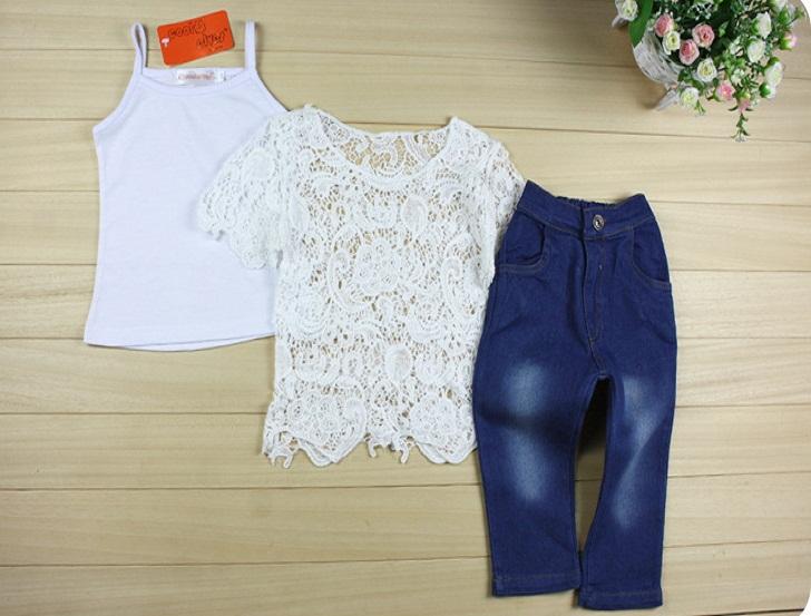 ست تاپ و بلوز سفید گیپوری با شلوار لی بچه گانه دخترانه,ست بلوز و شلوار جین بچگانه شیک