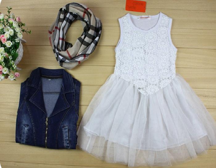 عکس ست لباس حریر مجلسی با کت جین بچه گانه دخترانه,مدل کت لی و سارافون حریر و گلدار