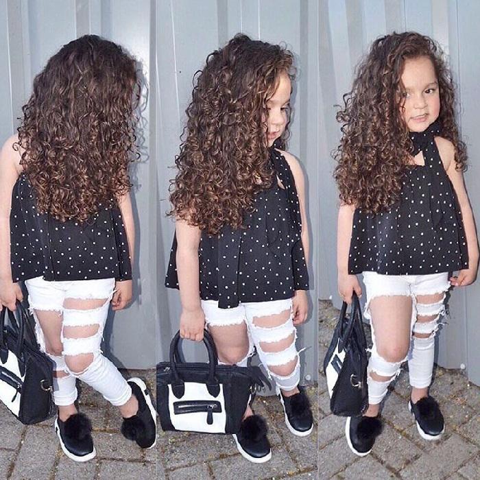 ست بلوز خال خالی با شلوار کتان,مدل لباس خال خالی بچه گانه دخترانه,مدل لباس مجلسی با پارچه خال خالی