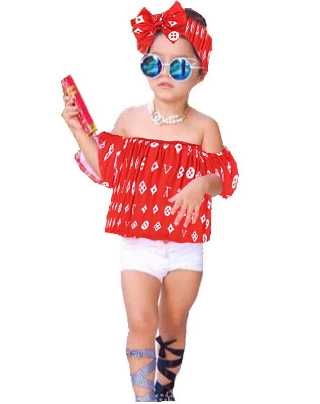 مدل جدید ست تاپ و شلوارک سفید و قرمز بچگانه دخترانه,ست تابستانی نخی دخترانه جدید