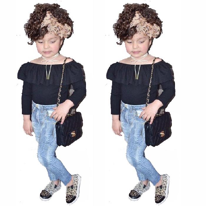 لباس مجلسی بچه گانه دخترانه شیک,مدل پیراهن شیک و شلوار جین بچه گانه