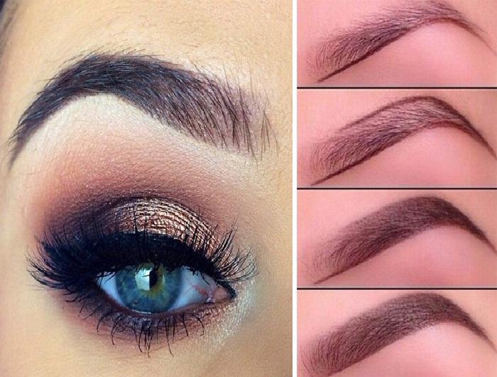 آرایش چشم زنانه,مدل آرایش چشم غلیظ,مدل ابرو اسپرت پهن و صاف شیک برای صورت گرد کشیده