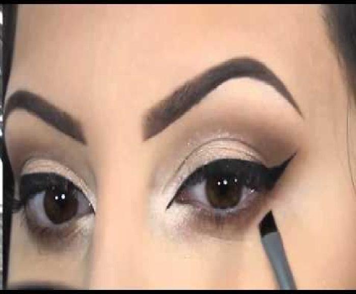 مدل ابروی پهن و بلند,مدل آرایش چشم با خط چشم,مدل ابرو پهن دخترانه