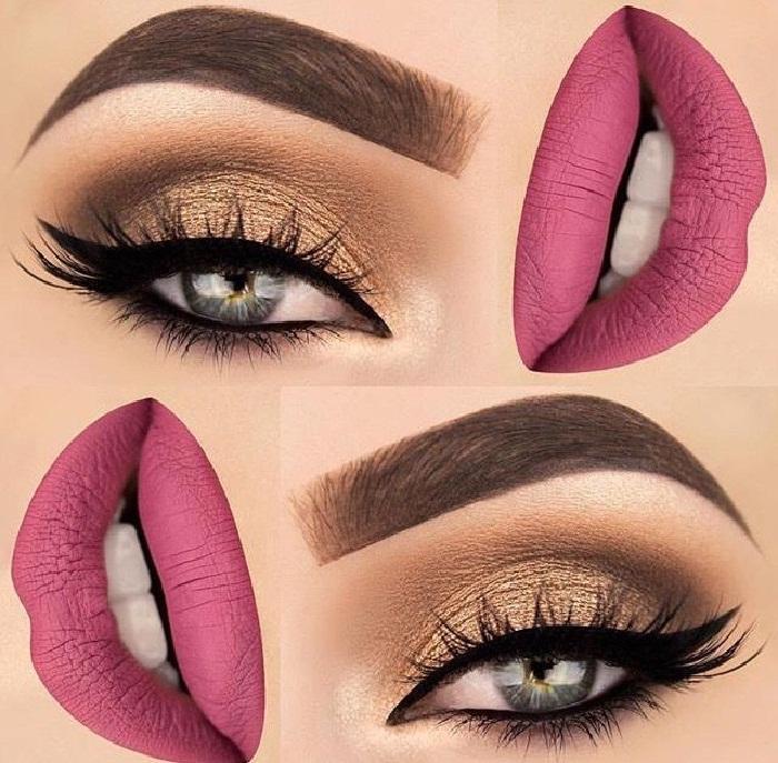 جدید ترین آرایش چشم,میکاپ جذاب صورت و مدل خط چشم,مدل ابروی کلفت و پهن,آرایش لب