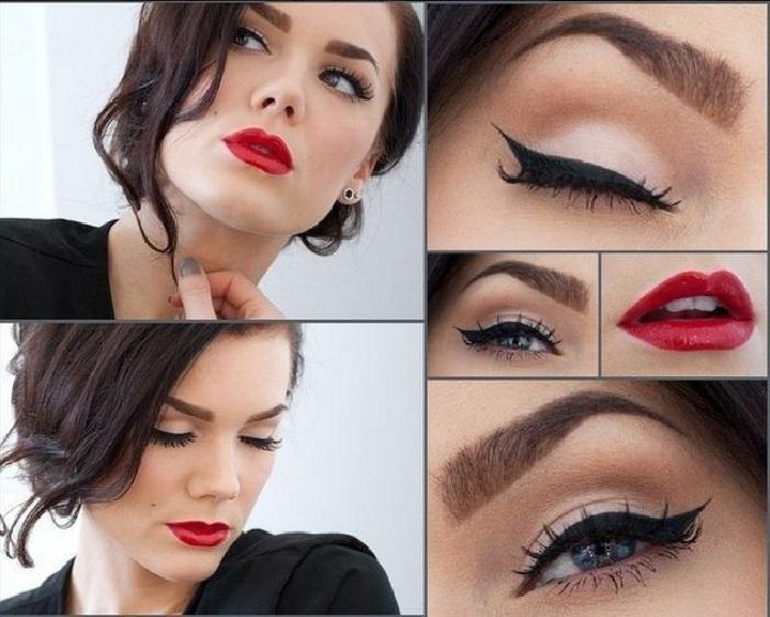جدیدترین مدل آرایش صورت با خط چشم,مدل ابروی پهن کشیده,مدل آرایش لب با رژ قرمز