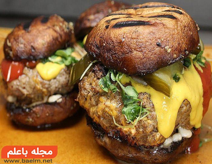 همبرگر رژیمی بادمجان و قارچ,طرز تهیه همبرگر رژیمی بادمجان و قارچ