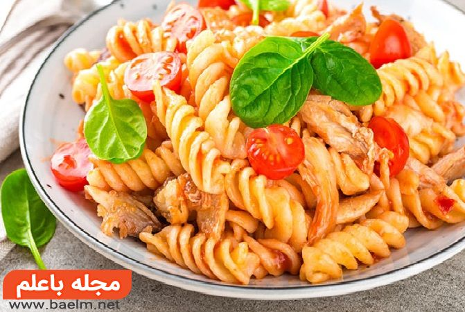 انواع پاستا,طرز تهیه پاستا مرغ,پاستای مرغ عربی,ماکارونی عربی