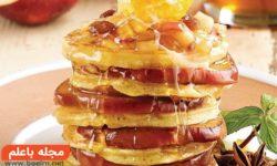 طرز پخت پنکیک سیب و عسل+مواد لازم جهت پختن پنكيک سیب عسلی